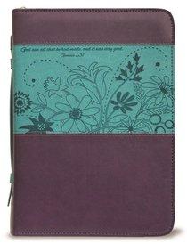 Bible Cover Divine Details: Xlarge, Plum/Turquoise, Gen 1:31