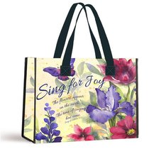 Tote Bag: Sing For Joy Floral/Black Handles (Song Of Solomon 7:12)