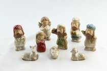 Porcelain Childrens 9 Piece Nativity Set