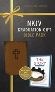 NKJV Graduation Gift Bible Pack For Him Brown Includes 365 Day Devotional the Story (Red Letter Edition) Premium Imitation Leather