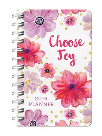 2019 15-Month Diary/Planner: Choose Joy, Pink/Purple Flowers, Nov 2018 - Dec 2019