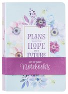 Notebook: Floral Pink/Purple/Blue With Verses (Set Of 3) Paperback