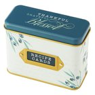 Recipe Cards in Tin Box: Thankful, Grateful, Blessed, Blue/Floral