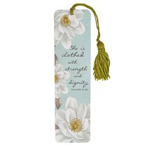 Bookmark With Tassel: She is Clothed With Strength