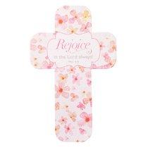 Bookmark Cross-Shaped: Sing For Joy, Rejoice (Pale Orange/floral)