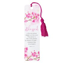 Bookmark With Tassel: Blessed (Pink Floral)