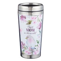 Polymer Mug W/Design Insert: Best Mom in the World, Floral, Stainless Steel Lid