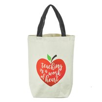 Canvas Tote Bag: Teaching is a Work of Heart, Cream/Red Apple/Black Handles