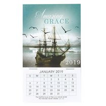 2019 Mini Magnetic Calendar: Amazing Grace, Sailing Ship