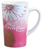 Latte Ceramic Mug: My Cup Overflows Pink/White (Psalm 23:5) Homeware