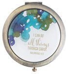 Cosmetic Mirror: Blue Flowers, I Can Do All Things Through Christ (Phil 4:13) ((In)courage Gift Product Series)