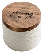 Textured Keepsake Box: Strong in Jesus, Cream Outside/Blue Inside