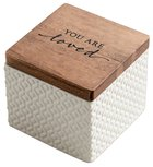 Textured Keepsake Box: You Are Loved, Cream Outside/Light Blue Inside Homeware