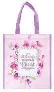 Non-Woven Tote Bag: I Can Do All Things Through Christ....Pink/Purple/Floral (Phil 4:13)