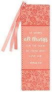 Bookmark: He Works All Things....Peach/Floral, Peach Ribbon Tassel (Romans 8:28) Imitation Leather