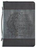 Bible Cover Large Classic, Be Strong & Courageous, Grey/Black Luxleather (Joshua 1: 9) Bible Cover