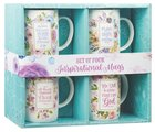 Ceramic Mugs 414ml: Inspirational Mugs Floral Various Scriptures (Set Of 4) Homeware