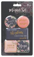 Magnetic Set of 5 Magnets: For I Know the Plans I Have For You, Navy/Pink Floral (Jer 29:11)