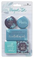 Magnetic Set of 5 Magnets: Peace Like a River, Blue/Turquoise