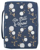 Bible Cover Poly Canvas Large: Be Still & Know, Navy/White Cotton Flowers, Carry Handle