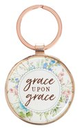 Metal Keyring in Tin: Grace Upon Grace, Floral/Copper