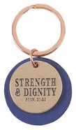 Metal Keyring in Tin: Strength & Dignity, Rose Gold/Dark Blue Novelty