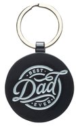 Metal Keyring in Tin: Best Dad Ever, Red Diamond Pattern Novelty