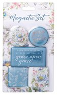 Magnetic Set of 5 Magnets: Grace Upon Grace, Blue/Floral