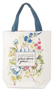 Canvas Floral Tote Bag: Grace Upon Grace, Brown Handles