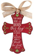 Christmas Mdf Red Barnwood Ornament: Cross (Luke 2:11)