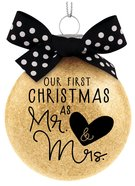 Christmas Glass Ornament Special Moments: Our First Christmas as Mr & Mrs, Cream With Black/White Spotted Bow (Mark 10:8)
