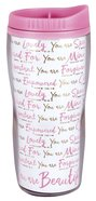 Acrylic Wavy Tumbler Mug: You Are Beautiful, White/Pink (Various Scriptures) Homeware