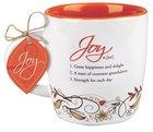 Ceramic Mug Creative Definition: Joy, Orange/White (Nehemiah 8:10)