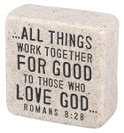 Cast Stone Plaque: Believe Scripture Stone, Cream (Romans 8:28) Plaque