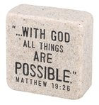 Cast Stone Plaque: Faith Scripture Stone, Cream (Matthew 19:26) Plaque