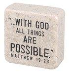 Cast Stone Plaque: Faith Scripture Stone, Cream (Matthew 19:26)