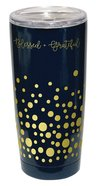 Gold Accent Steel Tumbler: Blessed & Grateful, Black With Gold Dots