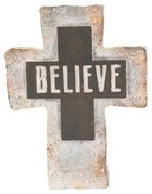 Resin Standing Cross: Believe, 20Cm Plaque