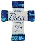 Ceramic Cross Wall Plaque: Peace For You Alone O Lord, Blue/Light Blue/White Patterns