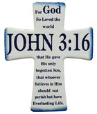 Ceramic Cross Wall Plaque: John 3:16, Blue/White Plaque