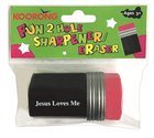 2 Hole Pencil Sharpener With Eraser, Jesus Loves Me Novelty