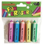 Eraser Pack: 5 Hexagon Pencil Shape Erasers, Jesus Loves Me Pack