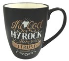 Mug: The God of My Rock, Black With Gold & White, 12Oz Homeware