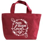 Cloth Bag: Faith Hope Love, Maroon Soft Goods