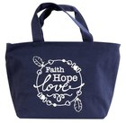 Cloth Bag: Faith Hope Love, Dark Blue Soft Goods