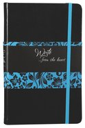Journal: Write...From the Heart, Blue/Black Flowers (Onyx) Imitation Leather