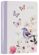2019 12-Month Daily Diary/Planner For Women, Bird/Pink Flowers Luxleather
