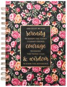 Spiral Journal: Serenity Prayer, Pink/Red Floral on Black (Large) Spiral