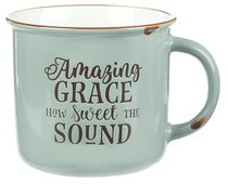 Camp Style Ceramic Mug: Amazing Grace How Sweet the Sound, Green/White