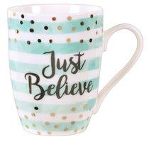 Ceramic Sparkle Mug: Just Believe Turquoise/Stripes